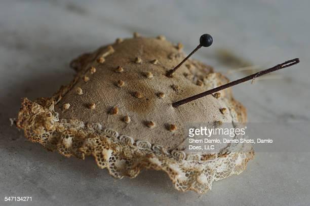 Antique heart pin cushion