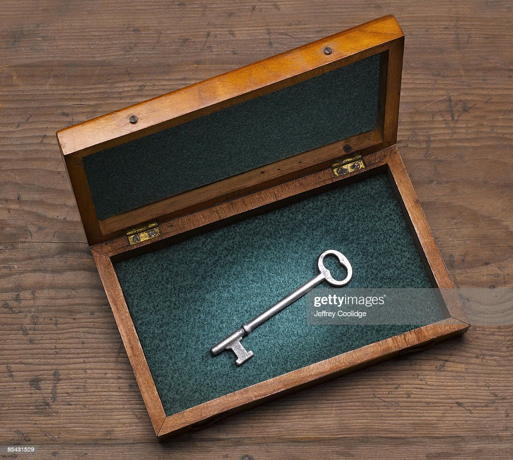Antique Key in Wooden box : Stock Photo