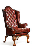 old antique brown/red leather wing arm chair eighteenth or nineteenth century