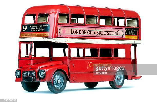 Antique London double decker bus tin toy