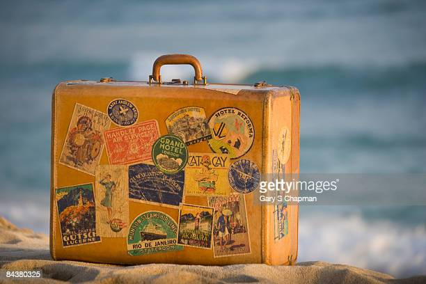 Antique luggage on Hawaiian beach