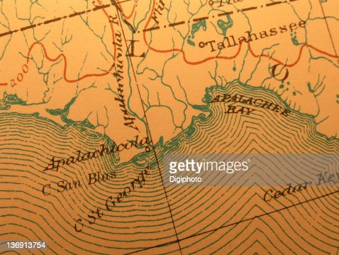 Apalachicola Florida Map.Antique Map Coast Apalachicola Florida Stock Photo Thinkstock