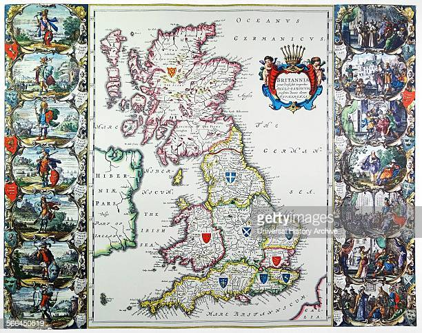 Antique map of Britain Published by the Dutch cartographer Willem Blaeu in Atlas Novus This map depicts the constituent parts of the United Kingdom...