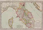 Antique map of central Italy with Corsica