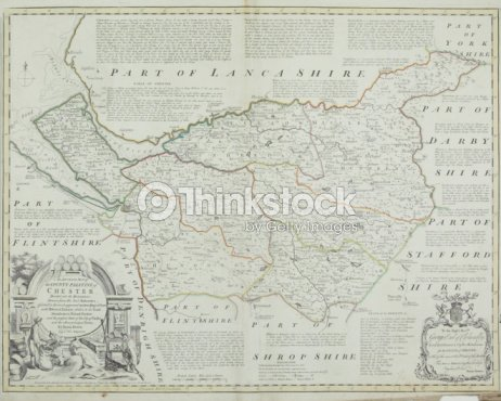 Antique Map Of Chester County In England Stock Photo Thinkstock