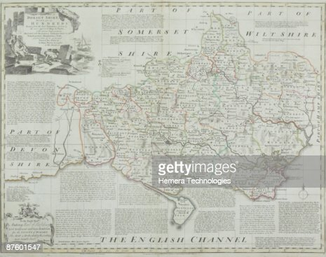 Antique map of Dorset county in England : Stock Photo