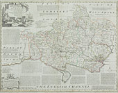 Antique map of Dorset county in England