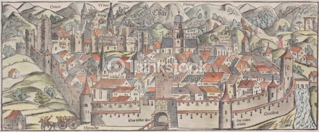 Antique Map Of Fortified Town Of Chur In Switzerland Stock Photo - Chur map