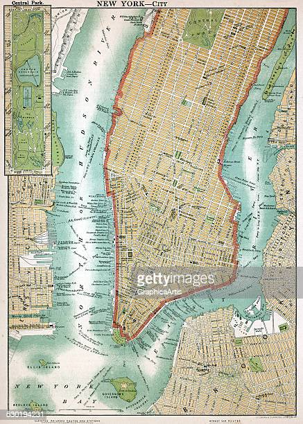 Antique map of lower Manhattan and Central Park New York City 1892