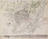 Antique map of Munich , Germany with cityscape vignette