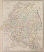 Antique map of Poland and eastern Europe with Russia