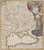Antique map of present day Russia and Ukraine north of the Black Sea