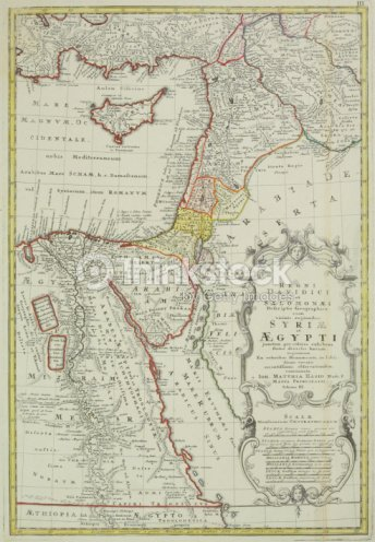 Antique Map Of The Middle East With Egypt Syria And Israel Stock ...