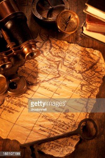 Antique Map on a Wooden Desk