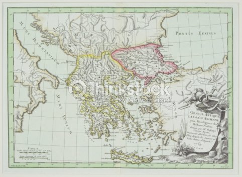 Antique Map Showing Greece And Turkey With Italy Albania Bulgaria ...