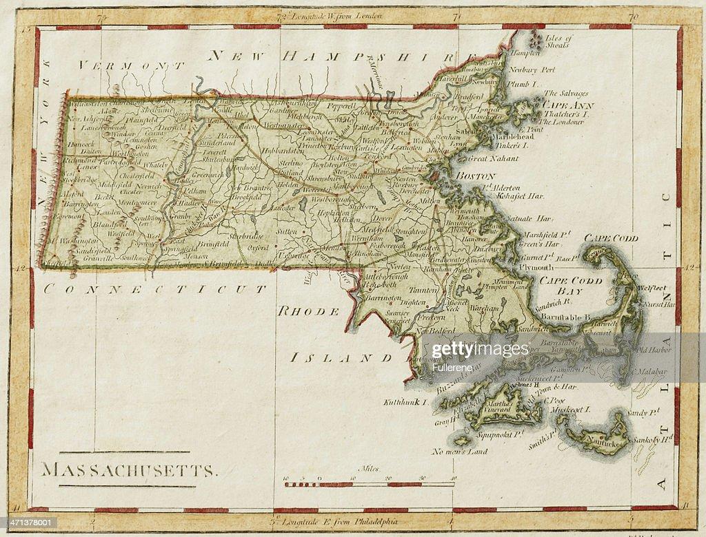 Antique Massachusetts Map