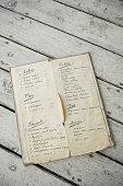 Antique menu list