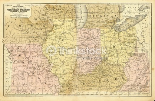 Antique Midwest United States Map Stock Photo | Thinkstock