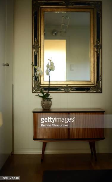 antique mirror and retro style cabinet