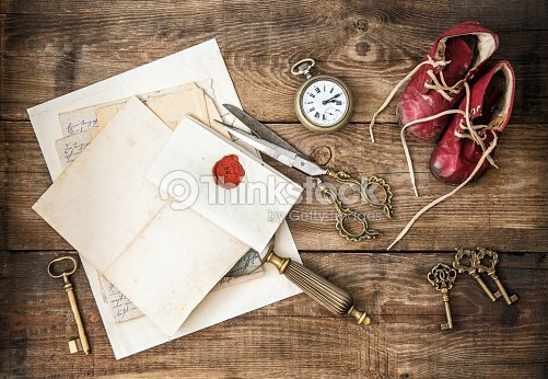 Antique Office Supplies And Writing Accessories Nostalgic Still Life Stock Photo