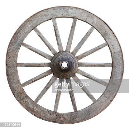 Antique ox-cart wooden wheel.