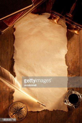 Antique Paper on a Wooden Desk