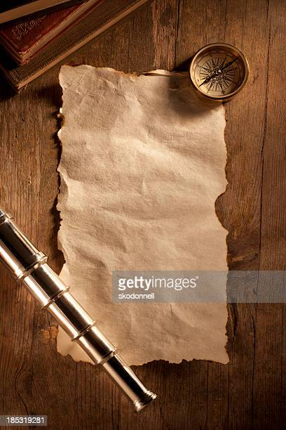 Antique Paper on a Wooden Desk
