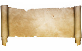Scroll of ancient parchment with torn edges. Isolated on white background.