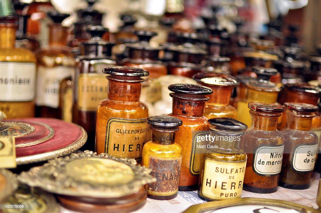 Antique pharmacy bottles : Stock Photo