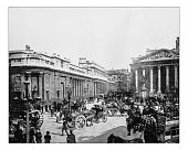 Antique photograph of headquarters of the Bank of England in Threadneedle Street (London, England), the historical building depicted in a late 19th century picture