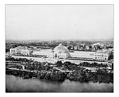 Antique photograph of aerialal view of the so-called Horticulture building at the World's Columbian Exposition held in Chicago (USA) in 1893. In the picture the majestic arched building with its big c