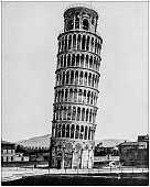 Antique photograph of World's famous sites: Leaning Tower, Pisa, Italy