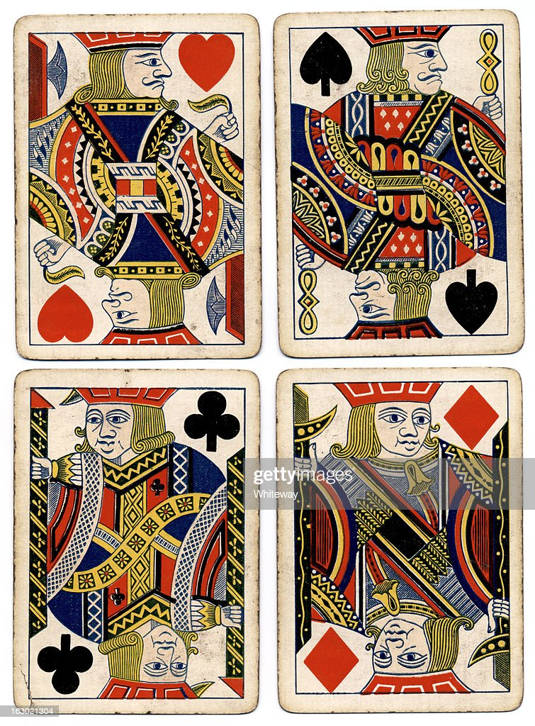 Antique playing cards four jacks spades hearts diamonds clubs
