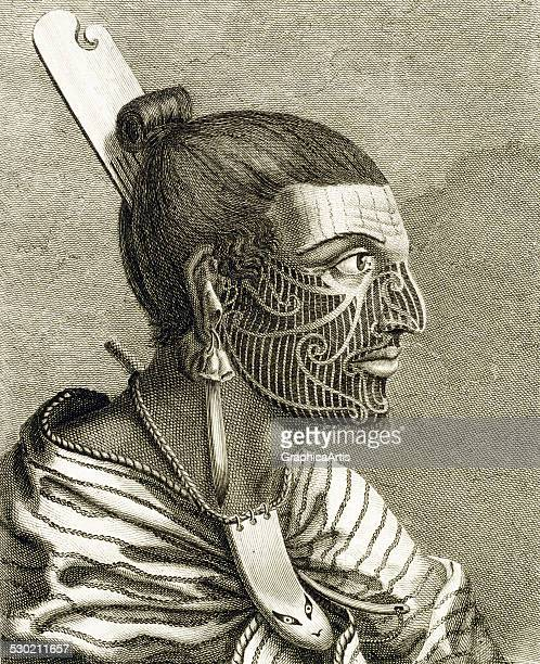 Antique print of a Maori man with ta moko tattoos recorded during the voyages of Captain James Cook 1773 Published in John Hawkesworth's 'An Account...
