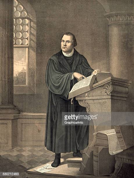 Antique print of Martin Luther in his study at Wartburg Castle in Eisenach 1882
