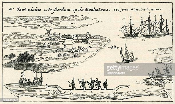 Antique print of of Manhattan indians in canoes and Dutch sailing ships from the earliest image of 'New Amsterdam' engraving 1911