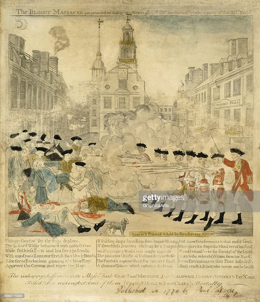 Antique print of the Boston Massacre from the American Revolutionary, by Paul Revere (American, 1734-1818) (hand-colored engraving), 1770. The title of the print is 'The Bloody Massacre perpetrated in King Street Boston on March 5th 1770 by a party of the 29th Reg't'.