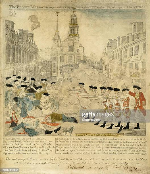 Antique print of the Boston Massacre from the American Revolutionary by Paul Revere 1770 The title of the print is 'The Bloody Massacre perpetrated...