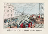 Antique print of the destruction of English tea in Boston Harbor during the Boston Tea Party handcolored lithograph 1846