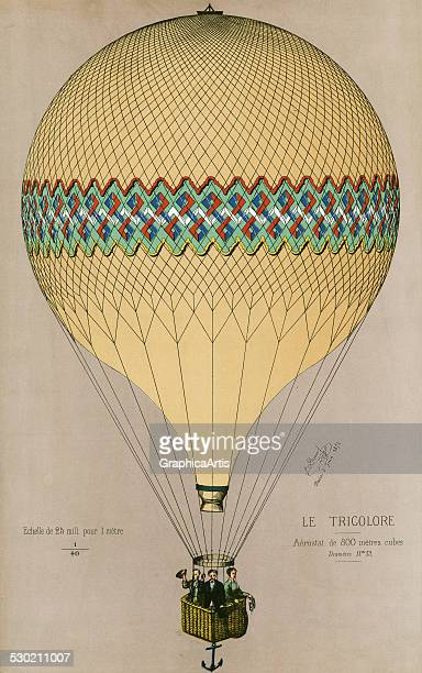Antique print of the French hot air balloon 'Le Tricolore' ascending in Paris on June 6 by Jules Duruof 1874 Duruof is likely one of the passengers...