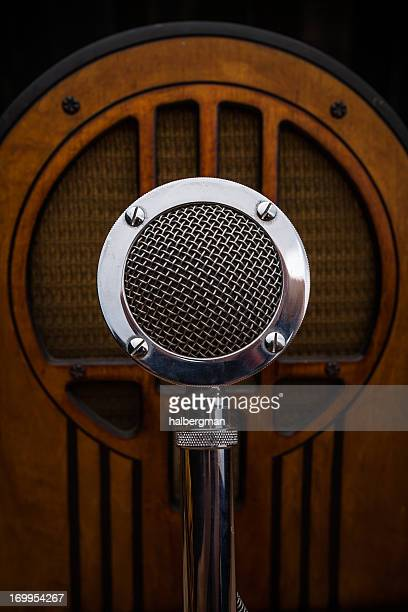 Antique Radio and Announcer's Microphone