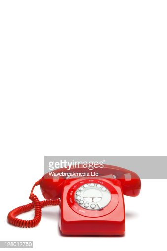 Old-fashioned red phone : Stock Photo