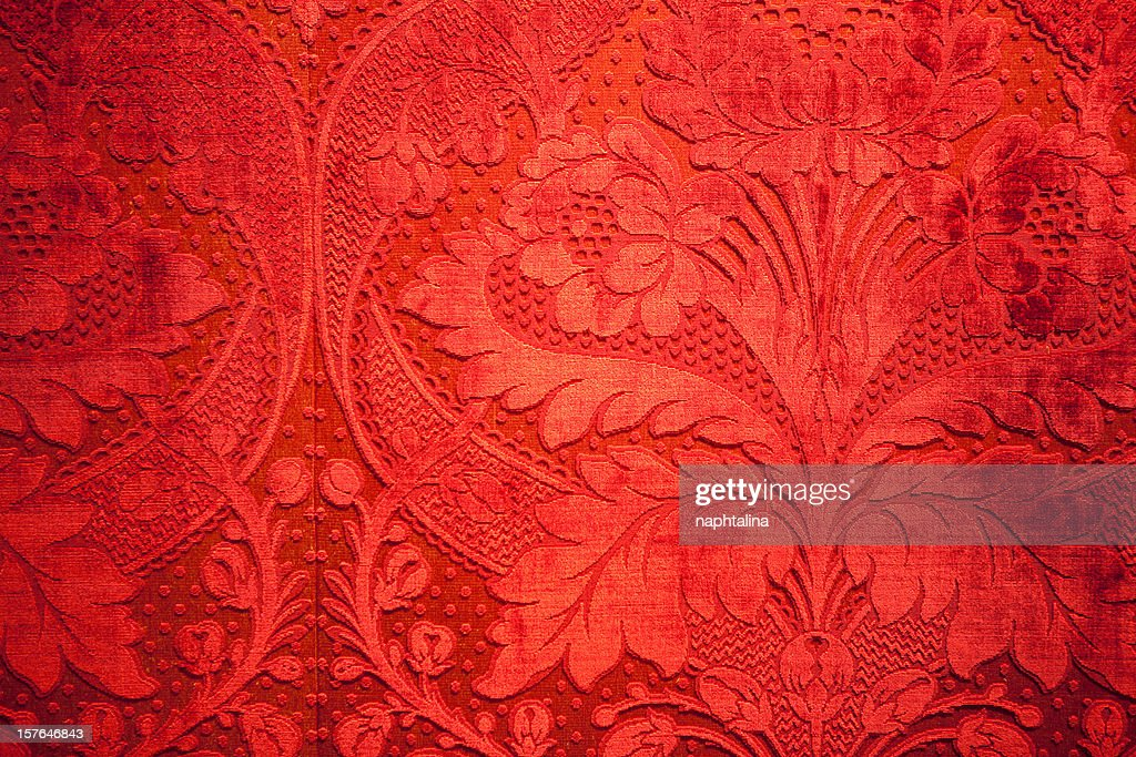 antique red velvet wall : Stock Photo