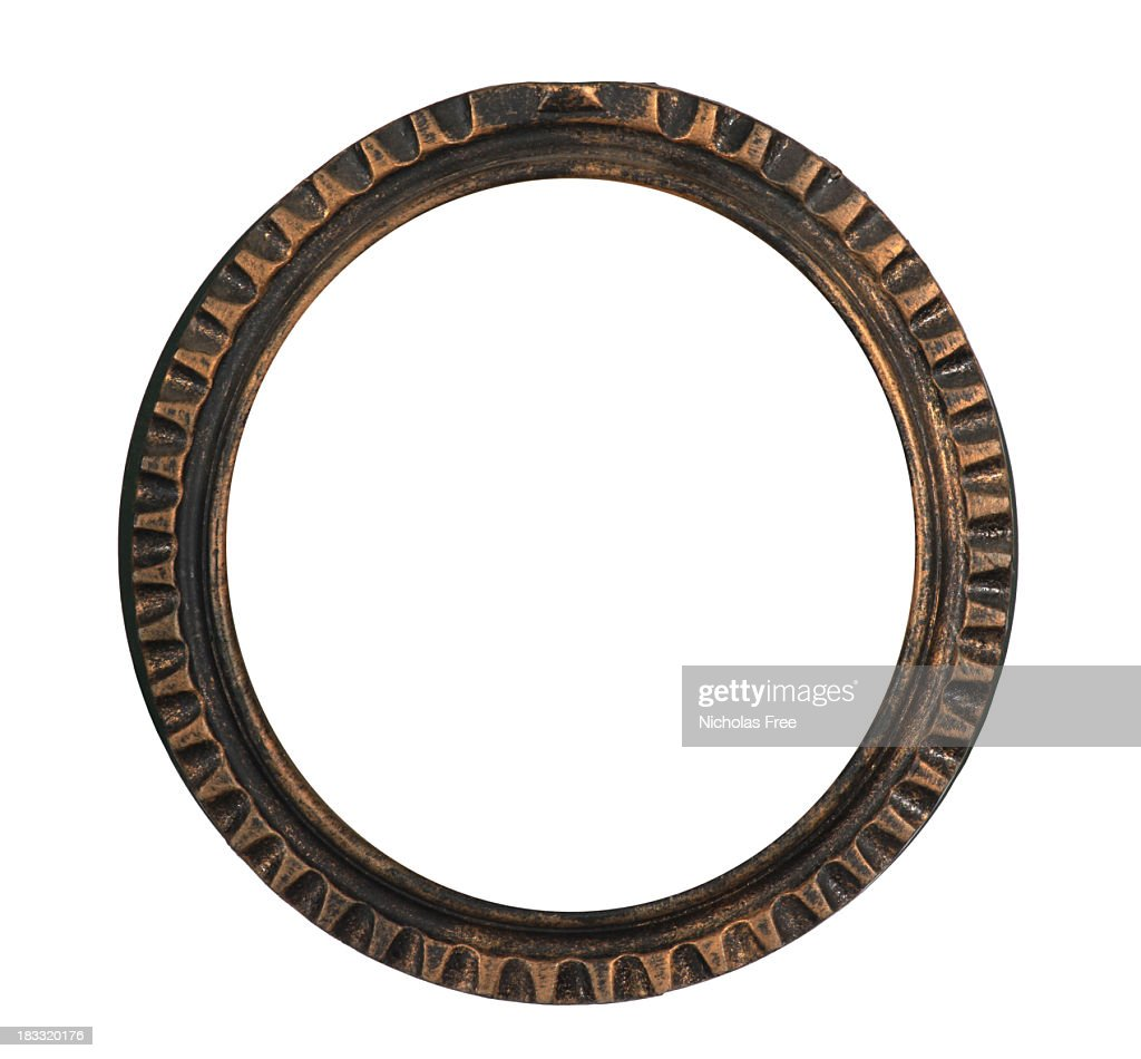 antique round dark gold frame stock photo getty images