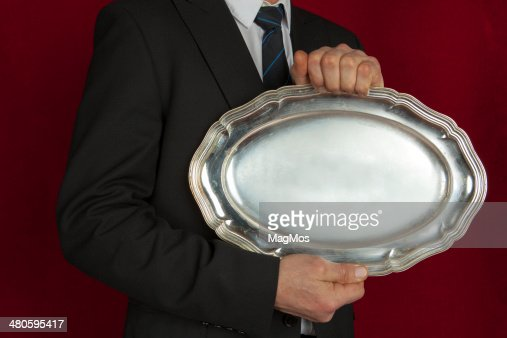 Antique serving tray : Stock Photo