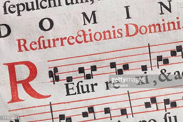 Alte Notenblatt. Latin Gesangsbuch Pergament.