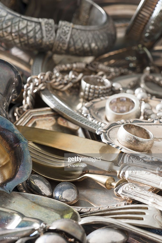 Antique Silverware and Old Silver Jewelry Background : Stock Photo