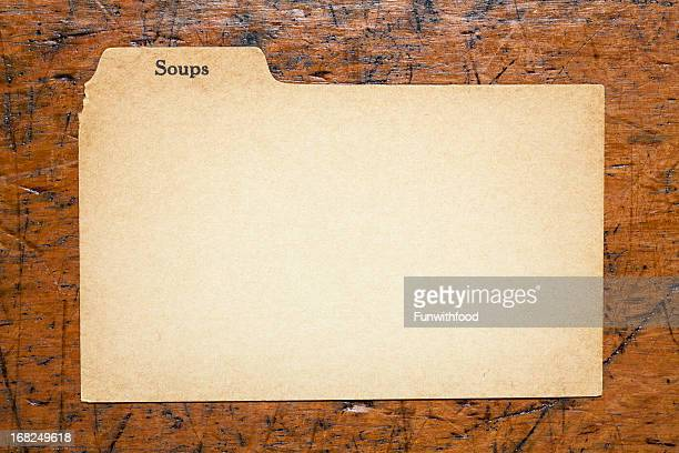 Antique Soup Blank Index Recipe, Old Fashioned Paper Card Background