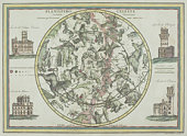 Antique star chart with zodiac signs
