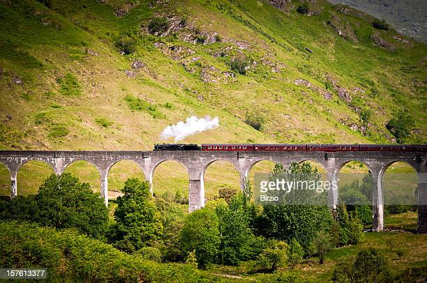 Antique Steam Train running on a Viaduct